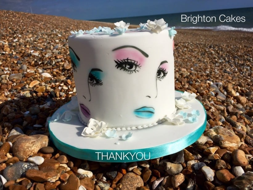 airbrushed make up cake on Brighton Beach