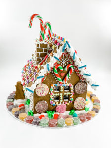 A colourful decorated gingerbread house