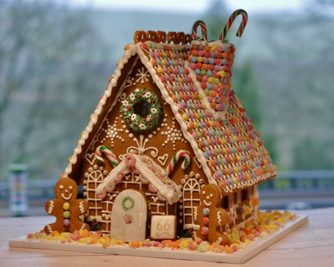 extra large gingerbread house with smarties roof